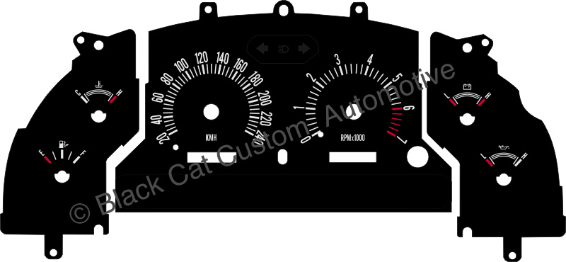 Black Cat Custom Automotive - Ford Mustang Gauge Faces in KMH /