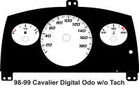 98-99 Cavalier Digital ODO without Tach Manual kmh Gauge Face