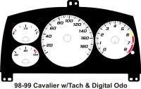 98-99 Cavalier Digital ODO with Tach Mnaual Gauge Face