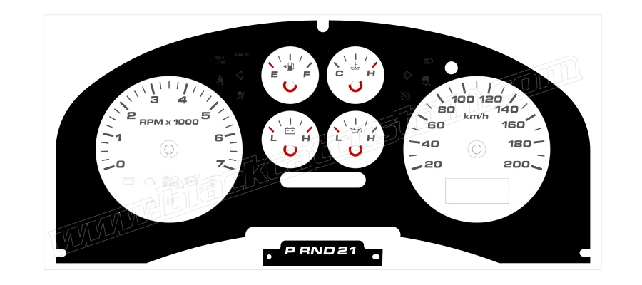 Black Cat Custom Automotive - Ford F150 Gauge Faces in KMH