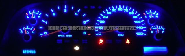 ram truck custom gauge face with blue led